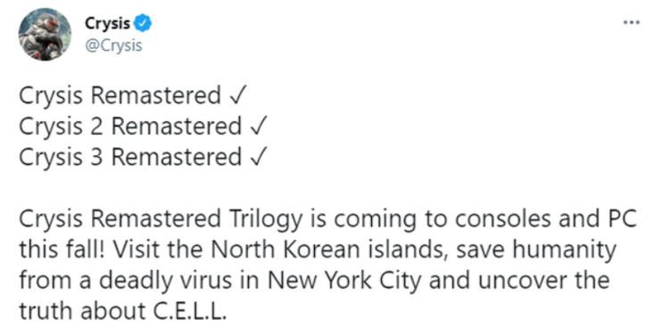 Crytek, Crysis Remastered Trilogy'yi Duyurdu