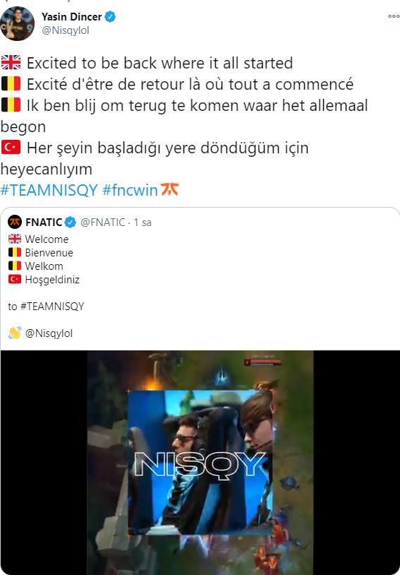 FNATIC Nisqy transferini duyurdu.