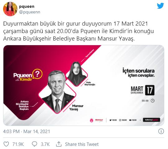 Mansur Yavaş Pqueen'in Twitch Programına Konuk Olacak