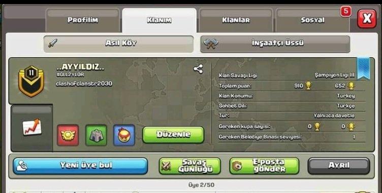 11 level şampiyon ligli klan ismi AYYILDIZ