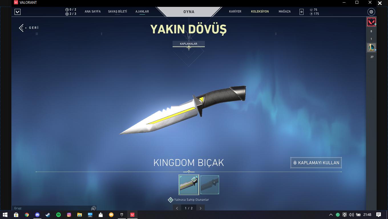 21 skin 1 bıçak valorant hesap