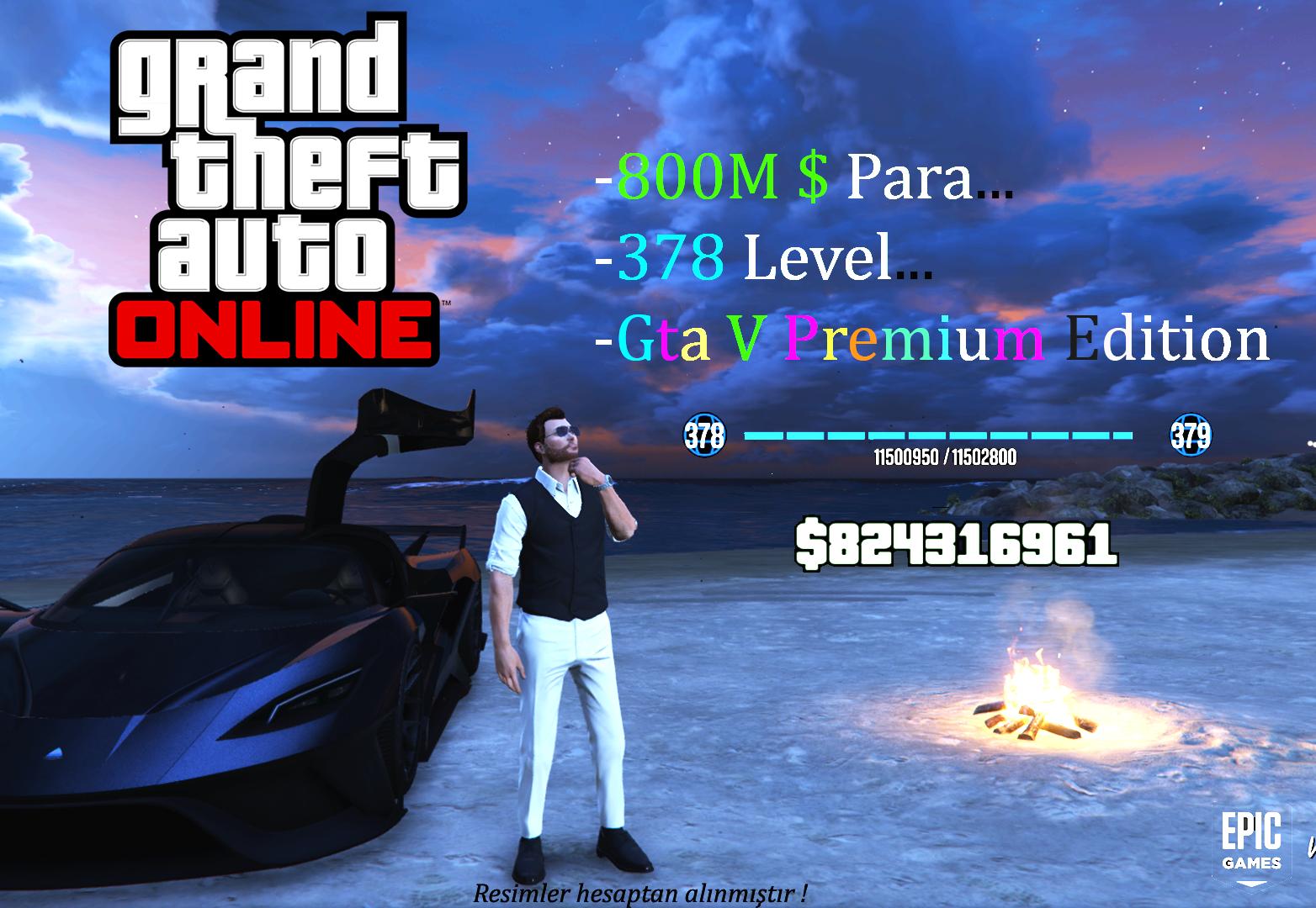 Gta V / Epic Games & 800M$ 378LVL (Extra Oyun)