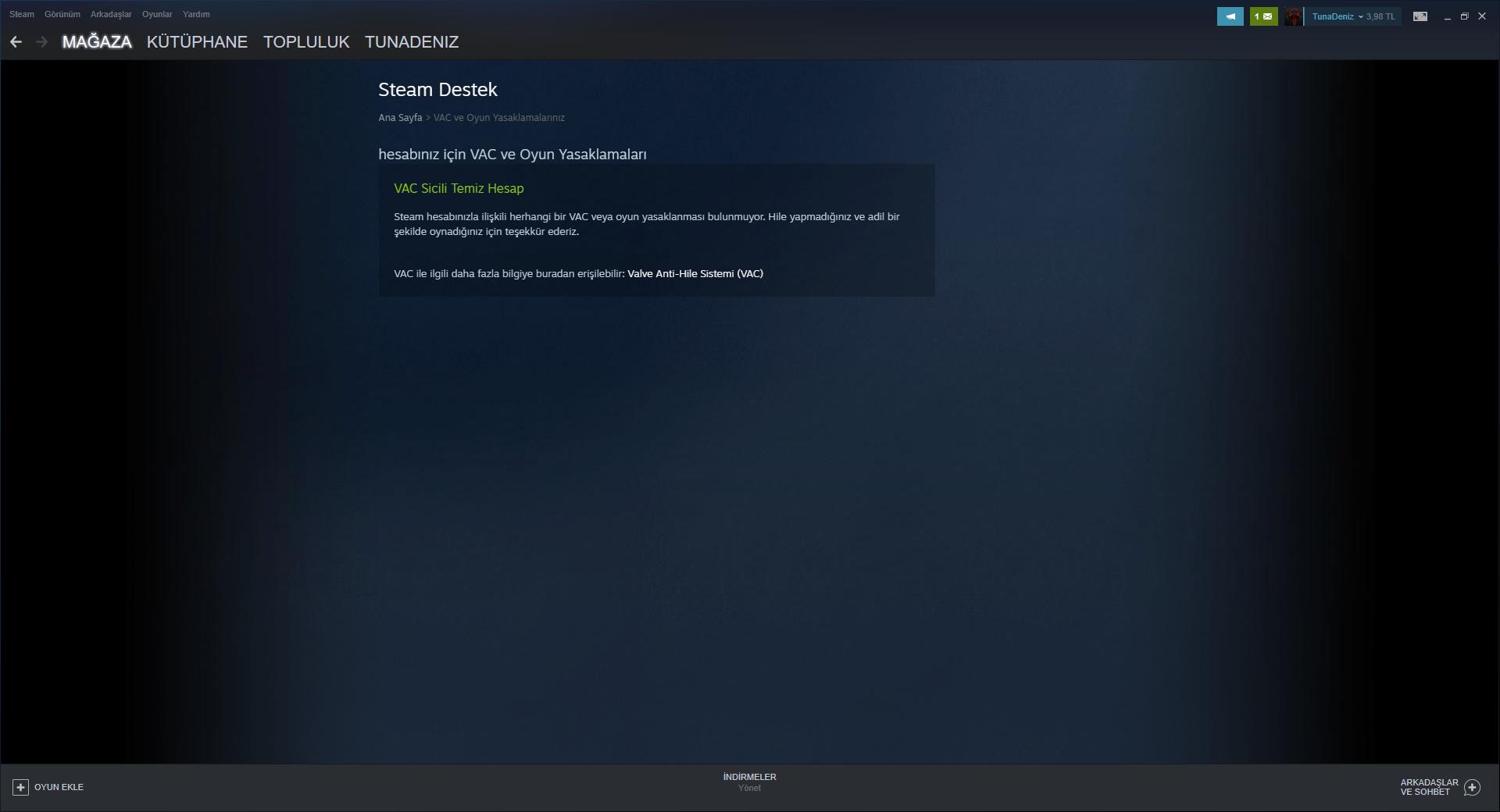 Steam hesabı artık kullanmıyorum