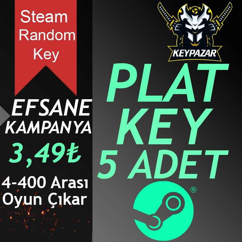 Steam Random Key PLAT 5 ADET 4-400 TL Oyun