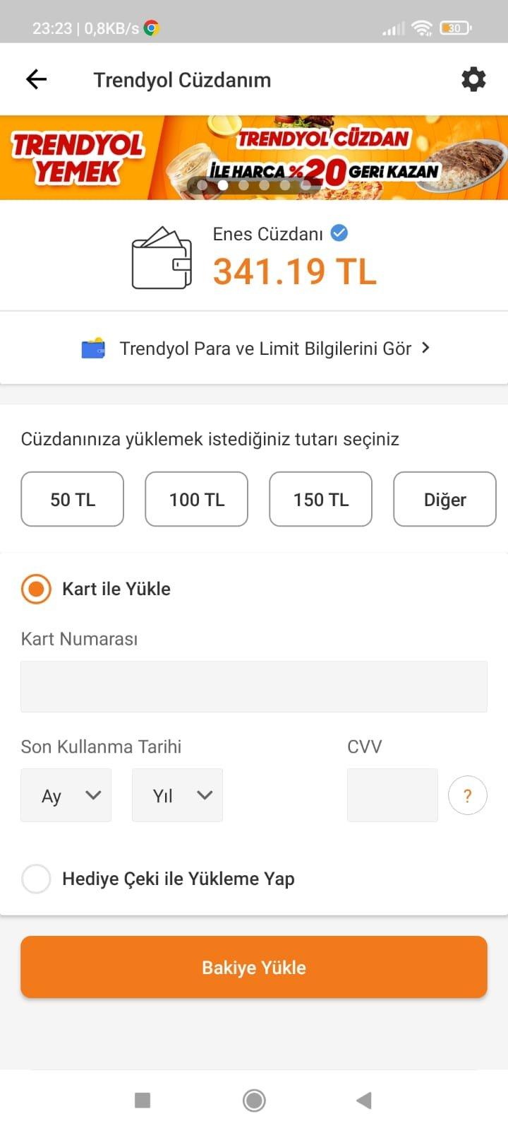 TRENDYOL 340 TL BAKİYELİ HESAP