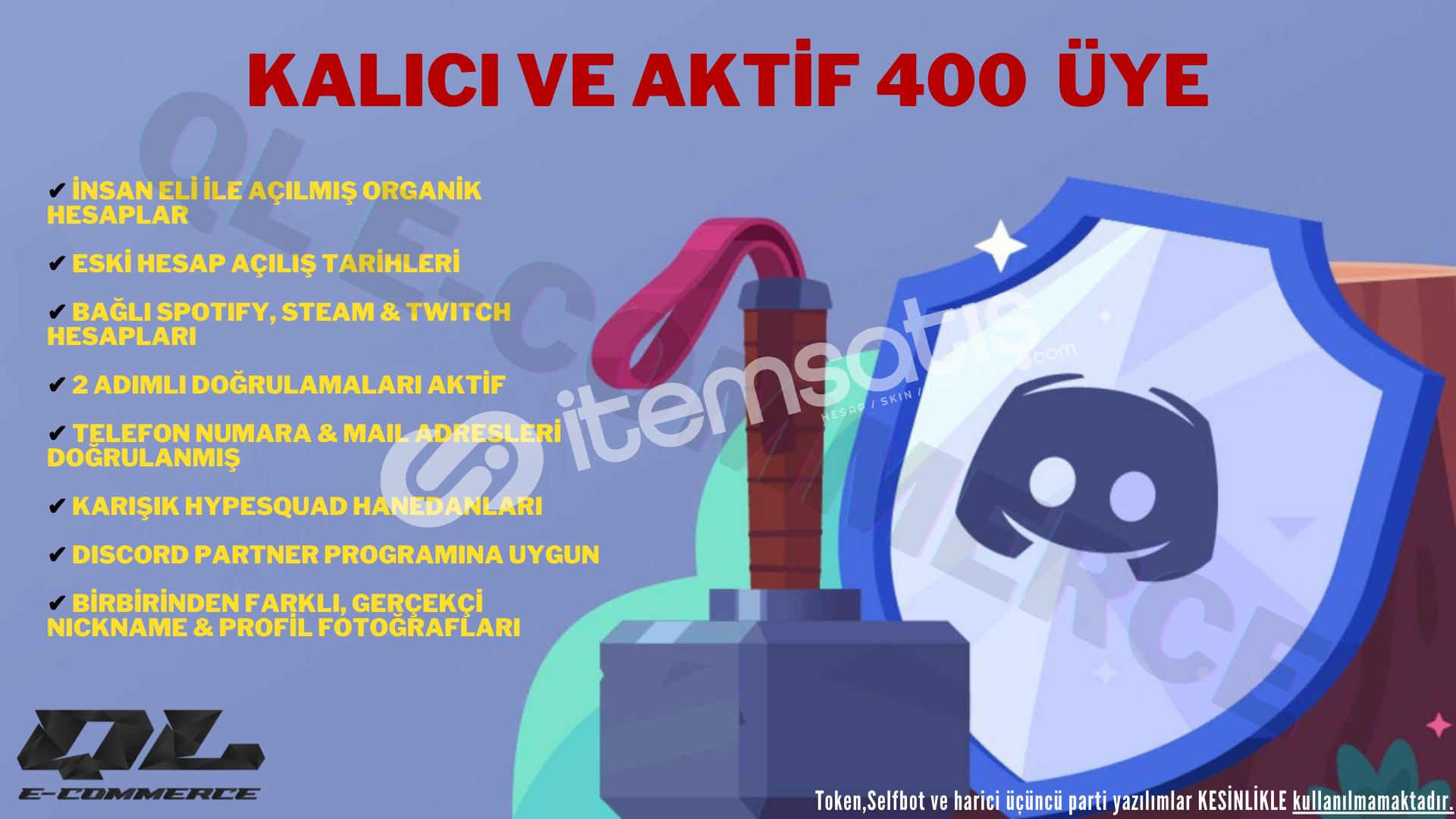 (Spotify, Steam ve Twitch Bağlantılı) Aktif 400 Adet Üye