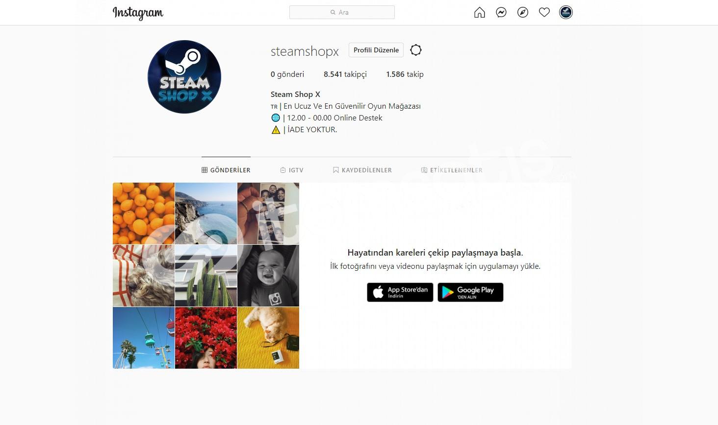 SteamShopX Steam Alım-Satım Sayfasıa