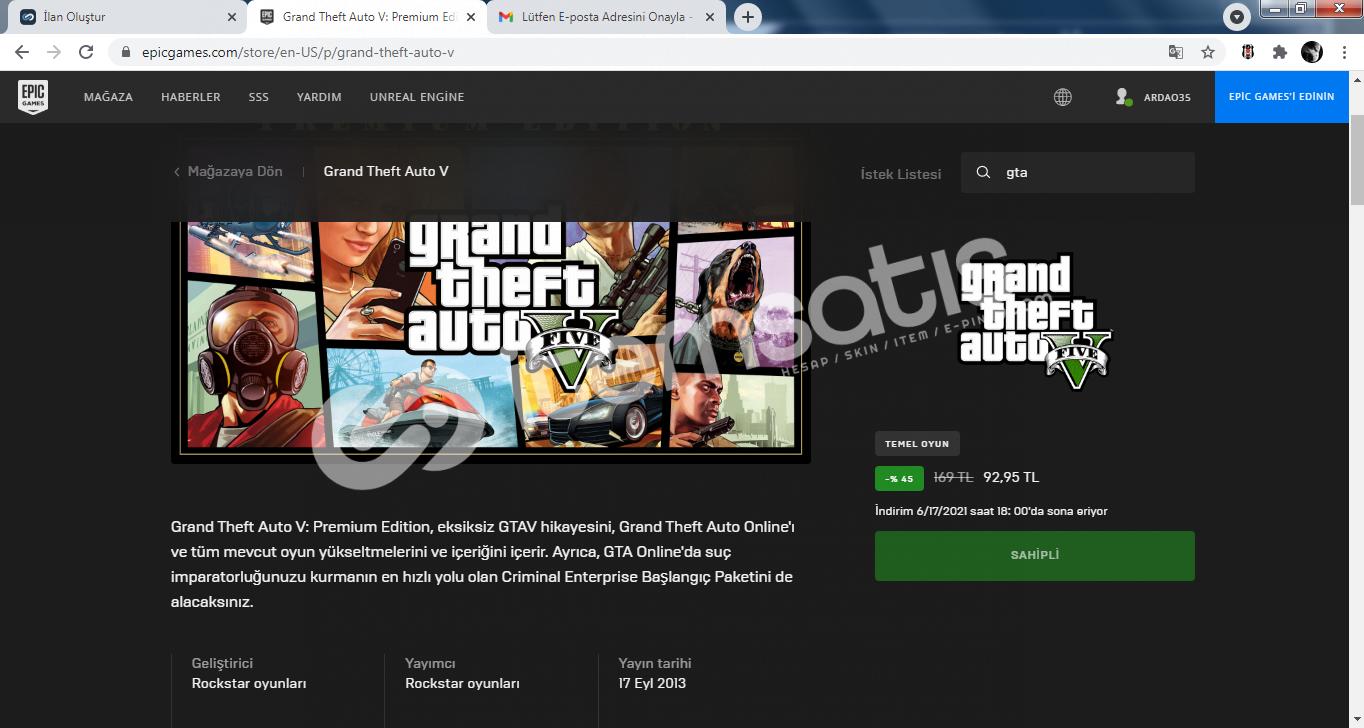 içinde GTA V ve NBA 2K21 olan epic games hesabı