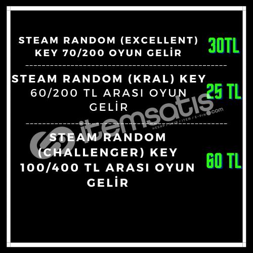 Steam Random (EXCELLENT) Key 70/200 TL ARASI OYUN GELİR