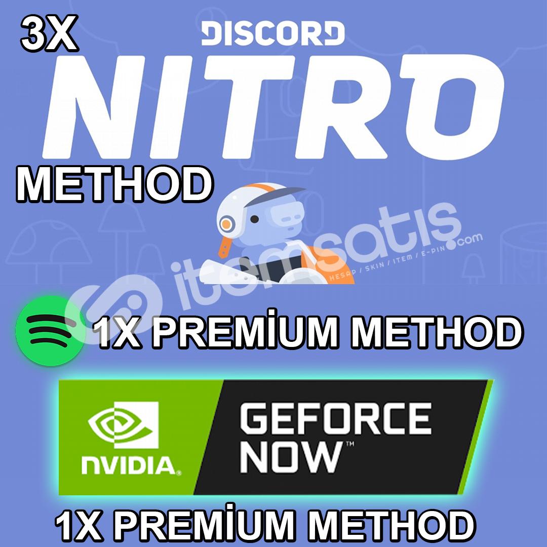 3 Tane Discord Nitro + Geforce Now Ve Spotify Premium Method