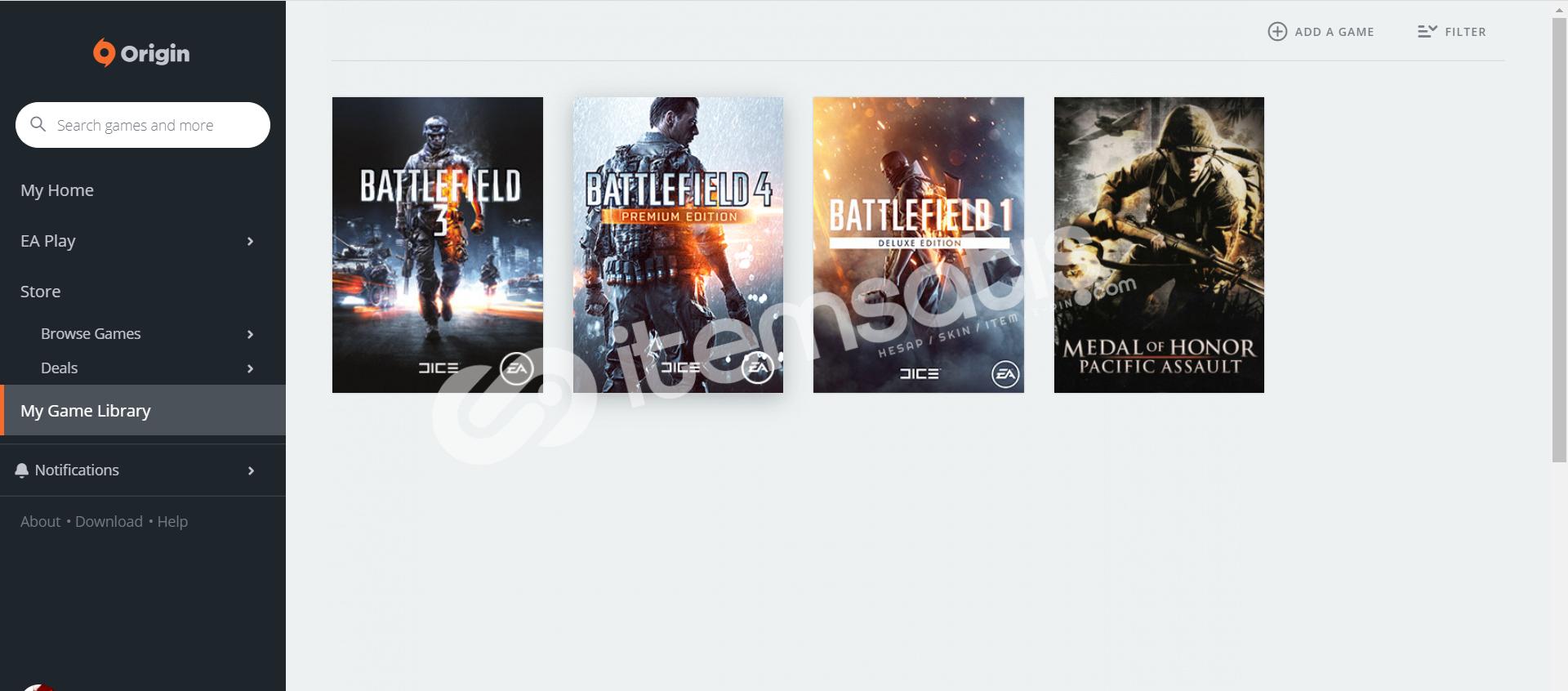 Origin Hesap(Battlefield 3-Battlefield 4-Battlefield 1-bonus