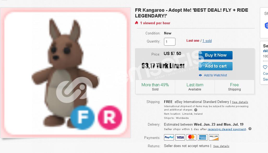 Adopt me Fr kangroo (Fly,ride) Çok ucuz fiyata
