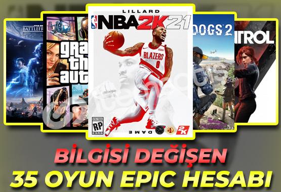 GTAV, NBA, WD2, SWBF2, Control / 35 Oyunlu Epic Games Hesabı