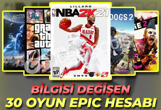 GTAV, NBA, WD2, Rage2, SWBF2, Control / 30 Oyun Epic Games