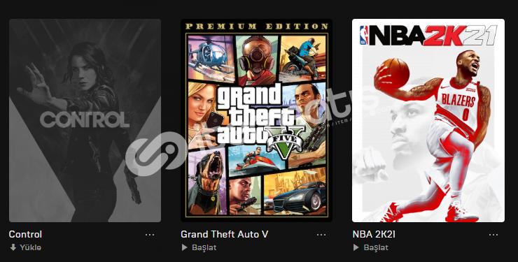 GTA V PREMİUM EDİTİON + NBA 2K21 + CONTROL EPİC GAMES HESABI