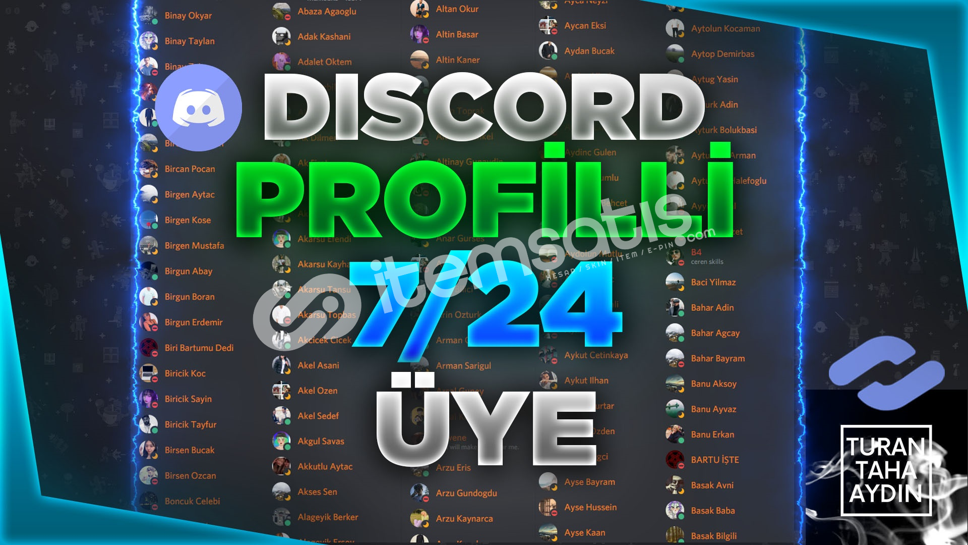 !Hepsi Profil Fotoğraflı Discord 100 Adet 7/24 Çevrimiçi Üye