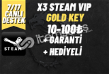 x3 + GARANTİ + HEDİYELİ STEAM VIP GOLD KEY (10-100₺)