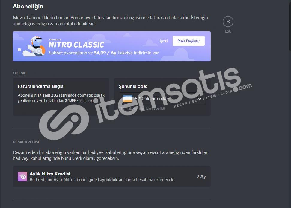 Discord Nitrolu Hesap (Epic Games Değil)