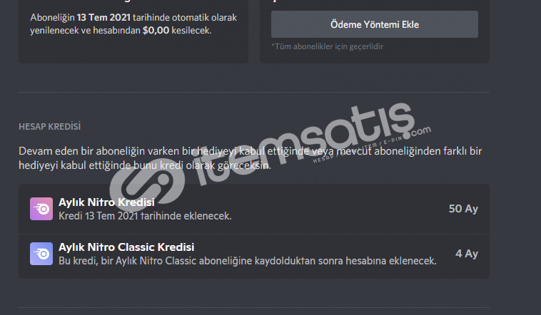 Discord 50 Ay Boostlu 5 Ay Classic Nitrolu hesap