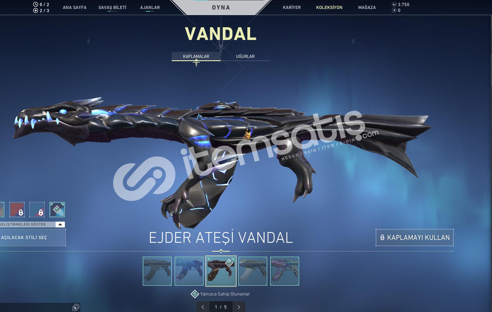Valorant Yağmacı Bıçak 4 Vandal Op Phantom