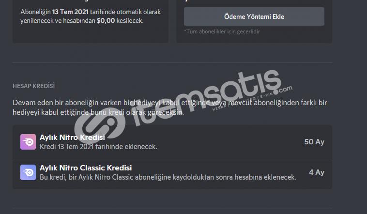 Discord 50 Ay Boostlu 5 Ay Classic Nitrolu hesap Takas Olr