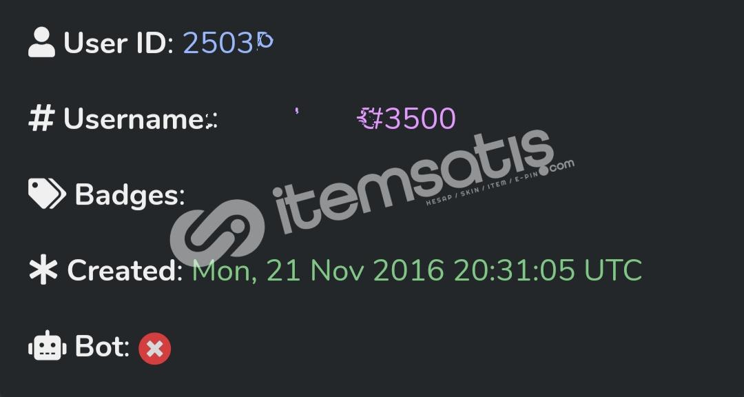 2 ID 2016 Discord Hesap Özel Etiket