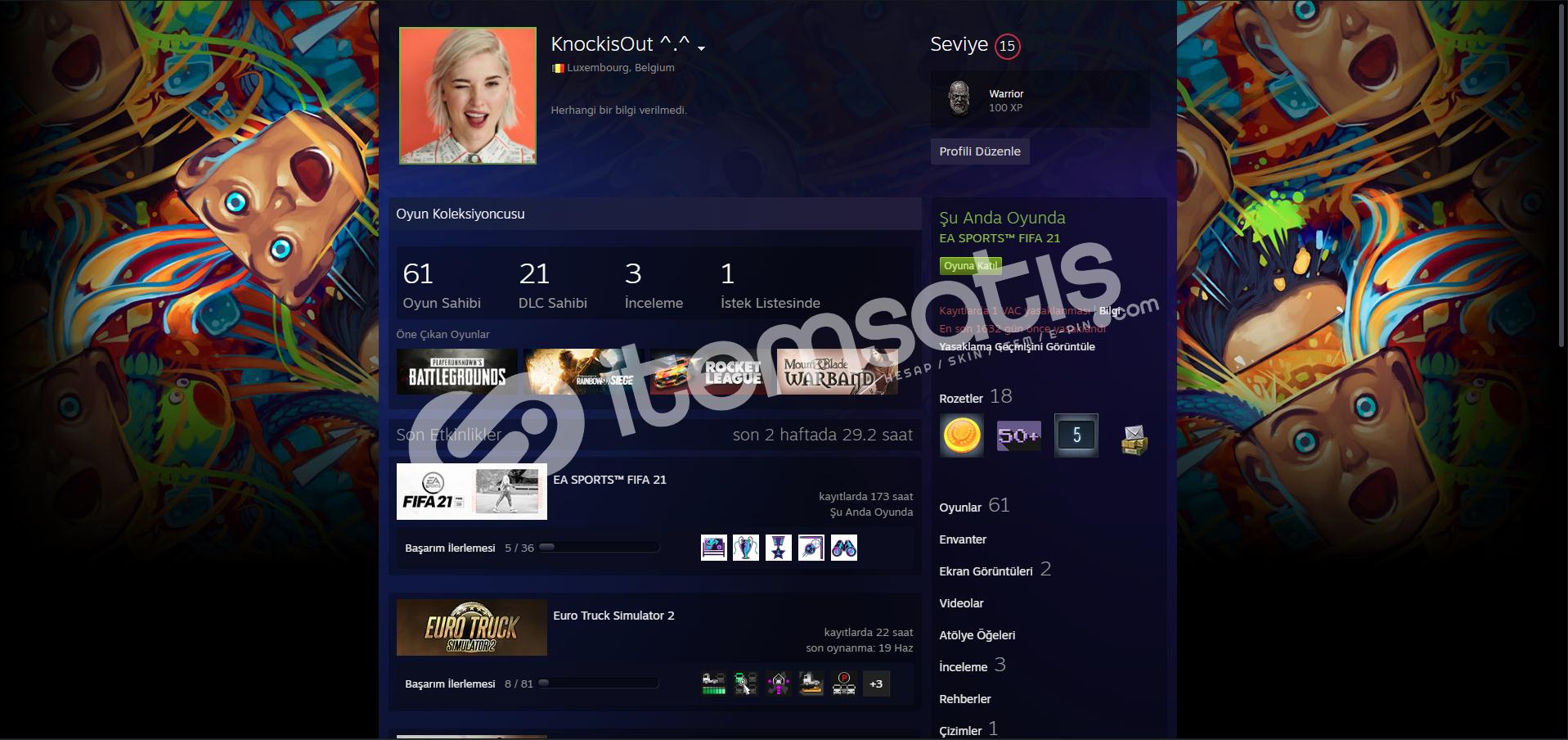 15 level, 60 oyunlu steam hesabı