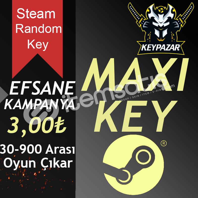 Steam Random Key MAXİ (30-900 TL Oyun Çıkar) HEDİYELİ!