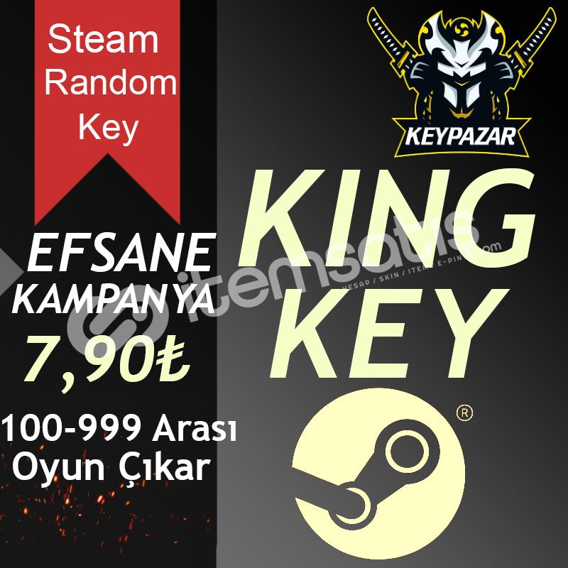 Steam Random Key KİNG (100-999 TL Oyun Çıkar) HEDİYELİ!