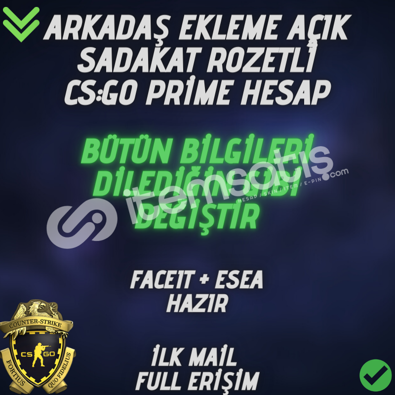 CSGO Sadakat Rozetli Prime - ARKADAŞ EKLEME AÇIK -
