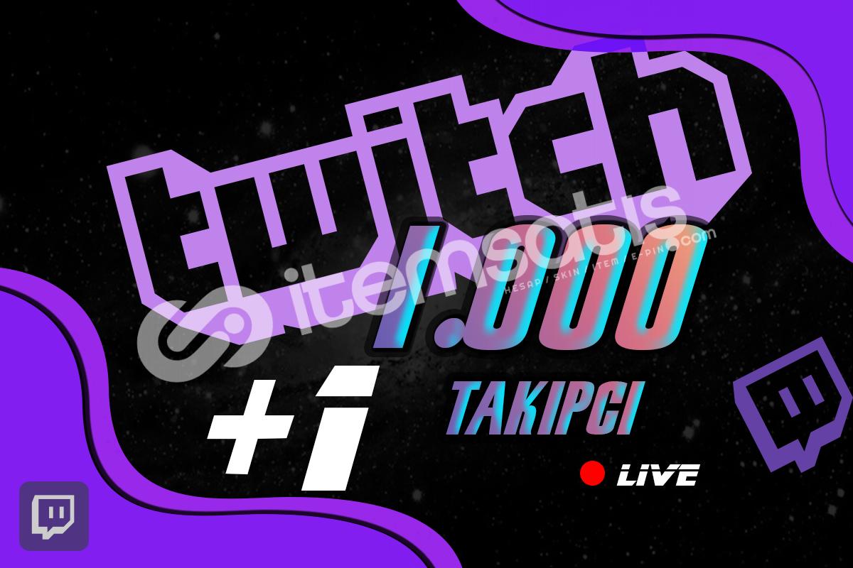 Twitch Takipçi - 1000 Adet %40 İndirim 10 STOK