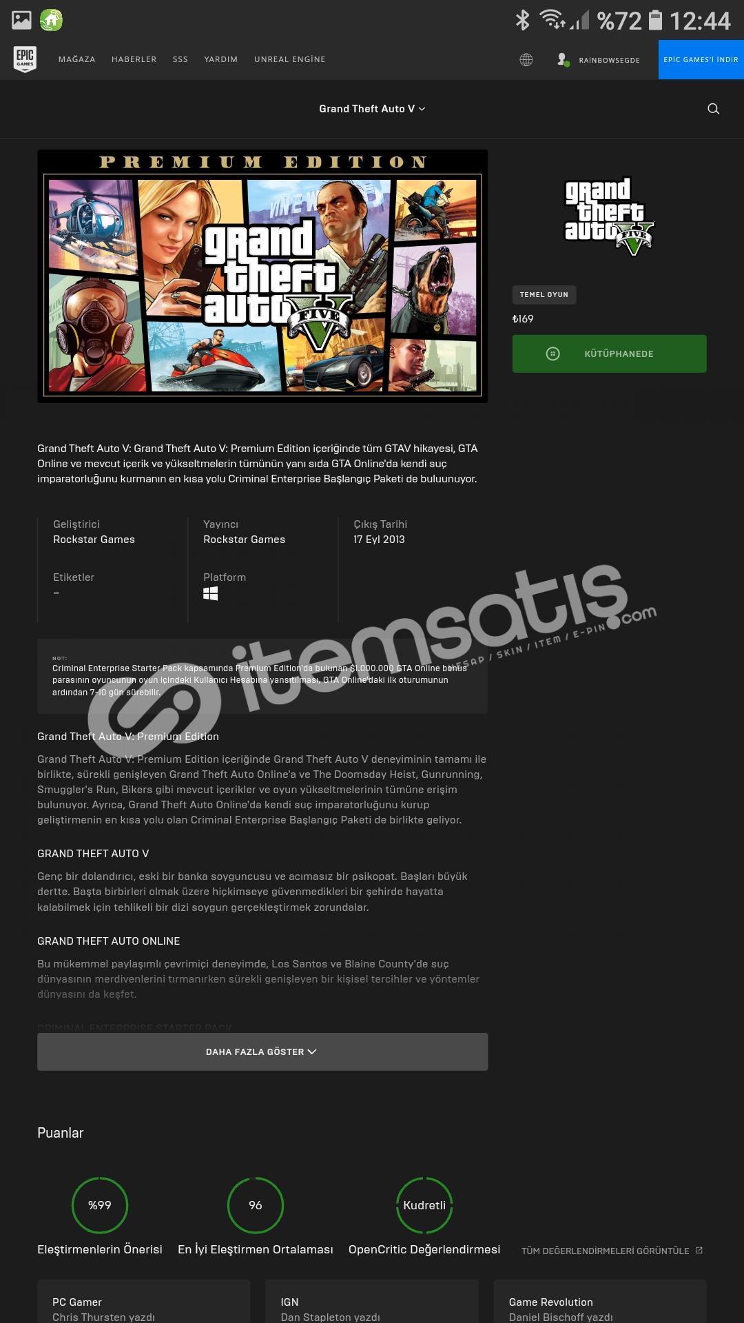 GTA 5 li epic games hesabı