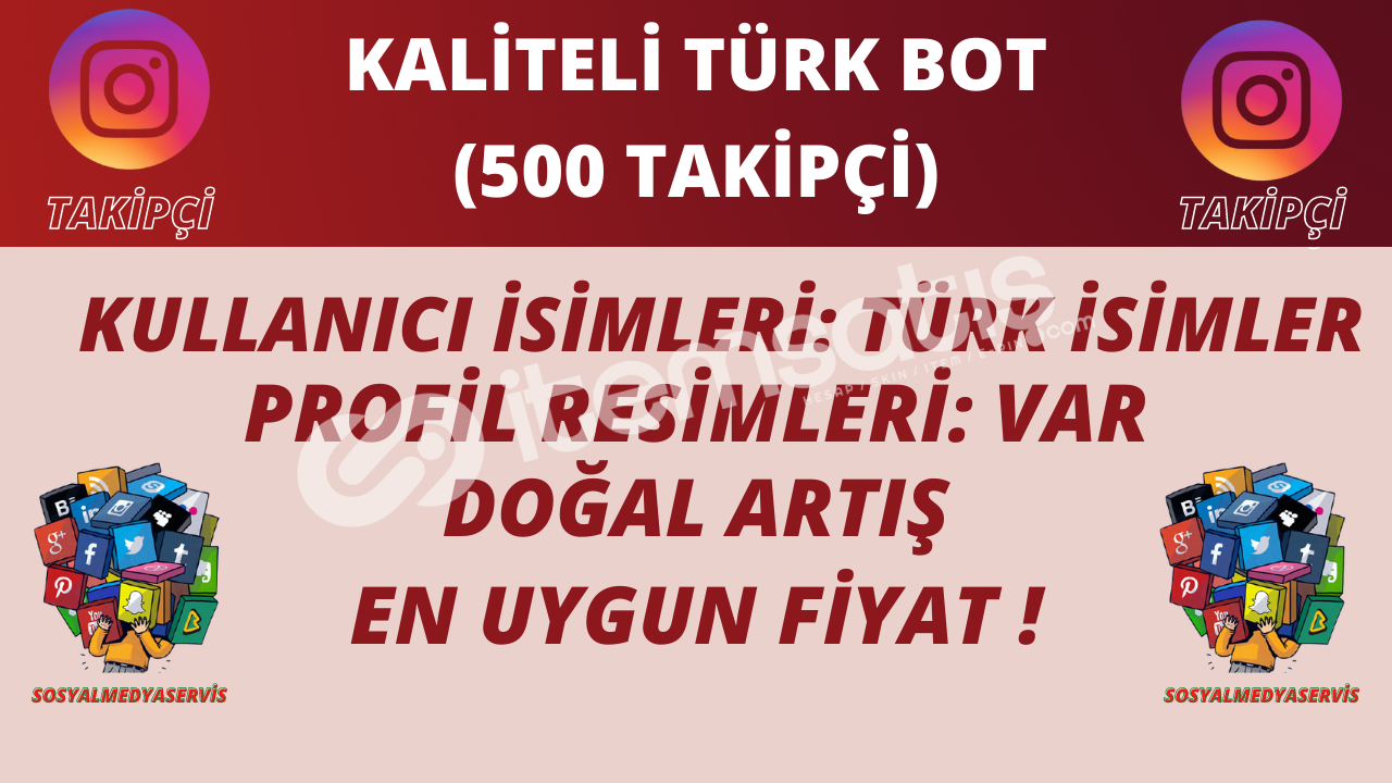 500 ADET   TÜRK BOT TAKİPÇİ   KALİTELİ PROFİLLER   5 TL