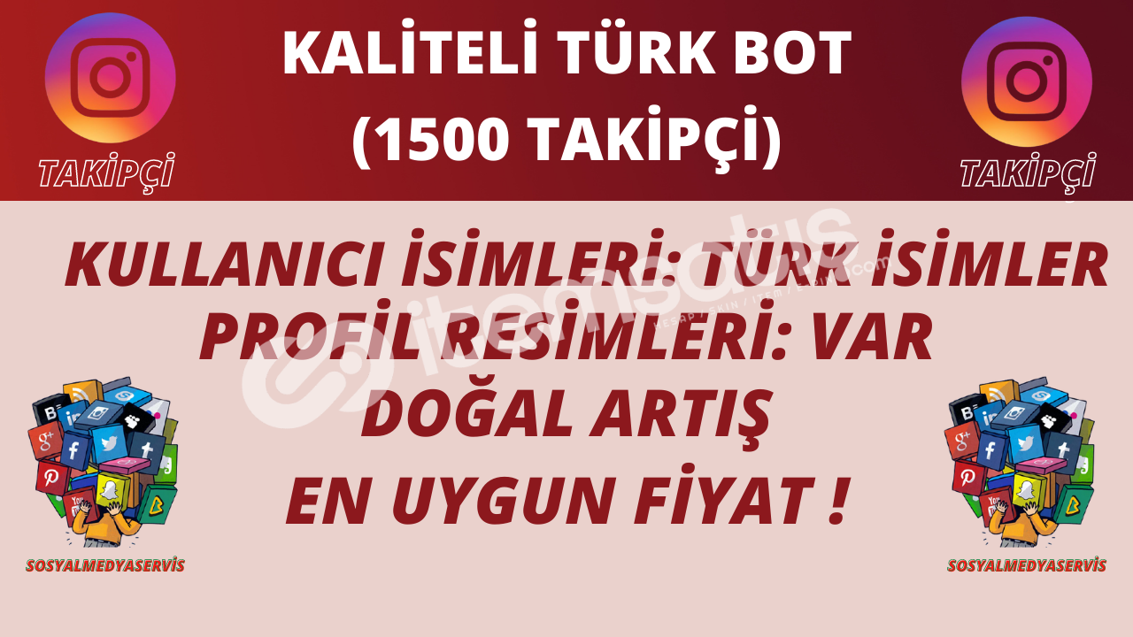 1500 ADET | TÜRK BOT TAKİPÇİ | KALİTELİ PROFİLLER | 10 TL