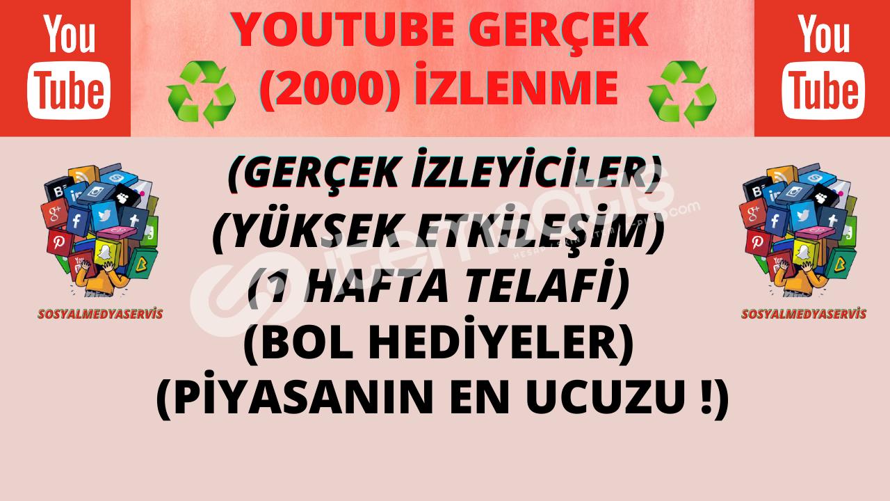 YOUTUBE 2000 GERÇEK İZLENME | DOĞAL GÖNDERİM | 9.99 TL