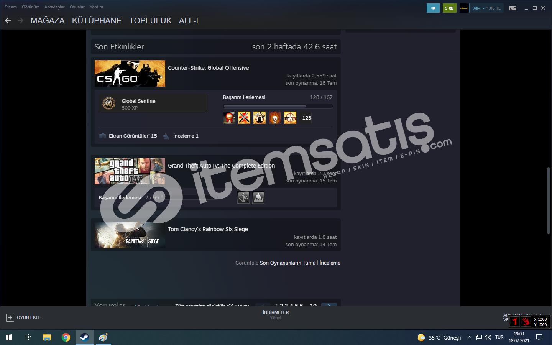 21 level 10 oyunlu steam hesap (CSGO 300TL ENVANTERLİ)