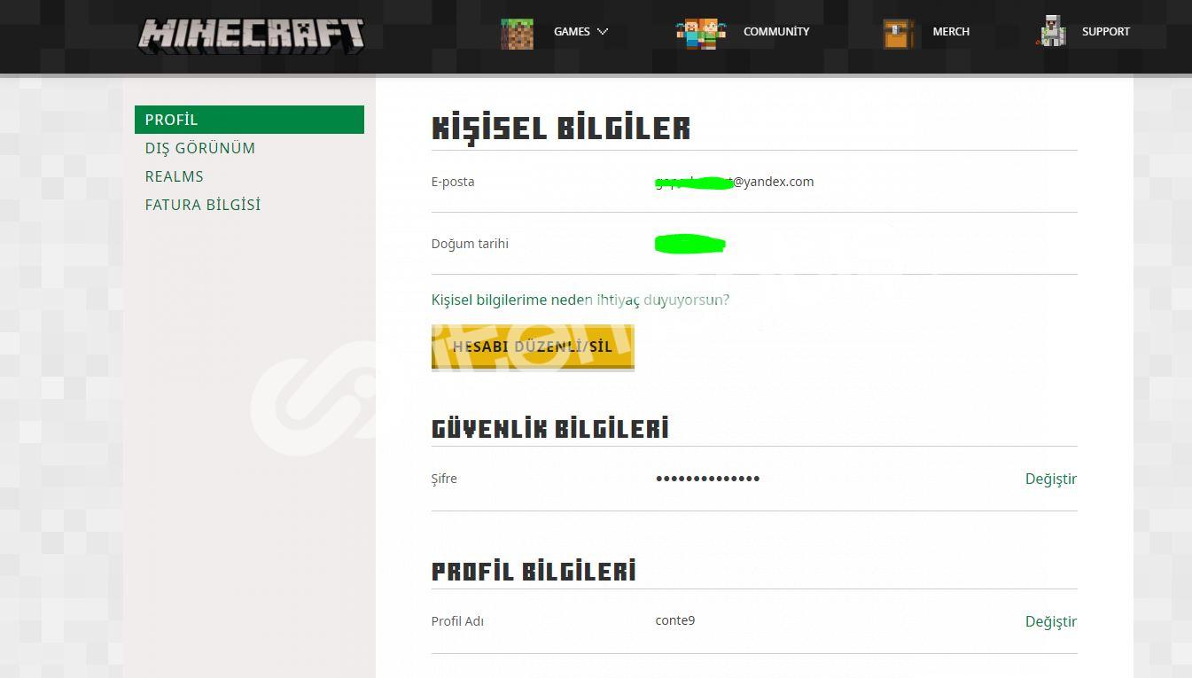 Minecraft Zümrüt Hesap - E-posta, şifre, skin, nick değişir.