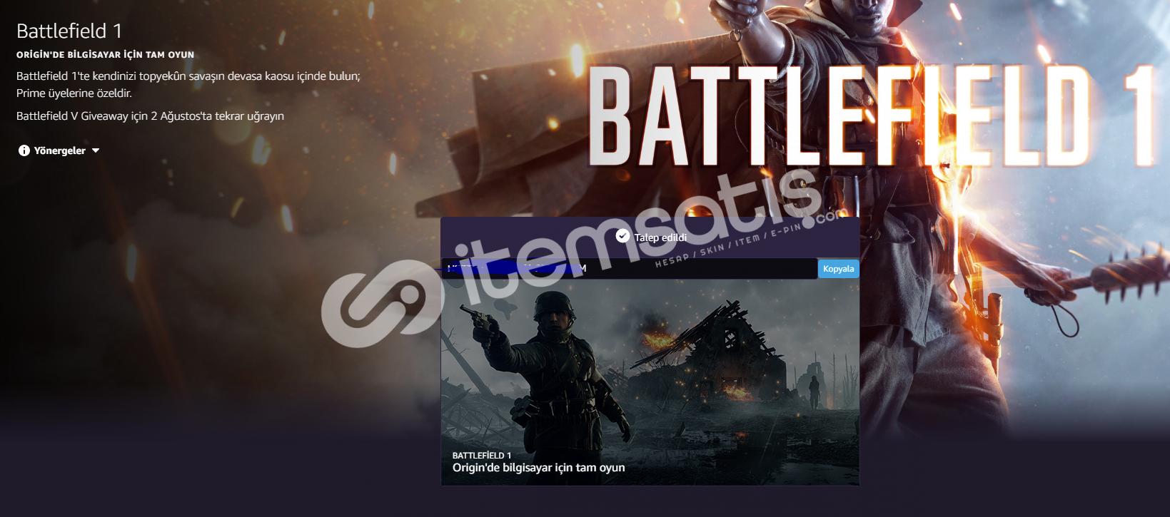 Battlefield 1 Orjinal Key Universal