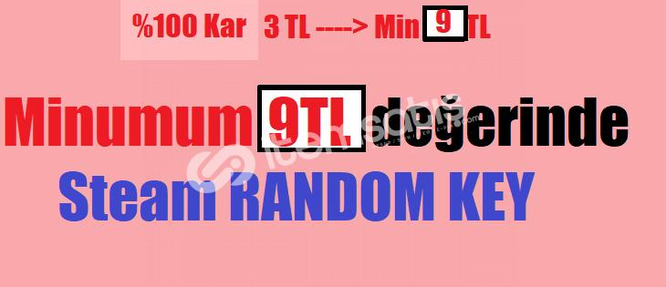 Minumum 9 TL'lik Oyun Çıkan Steam Random Key Elmas (3 TL)