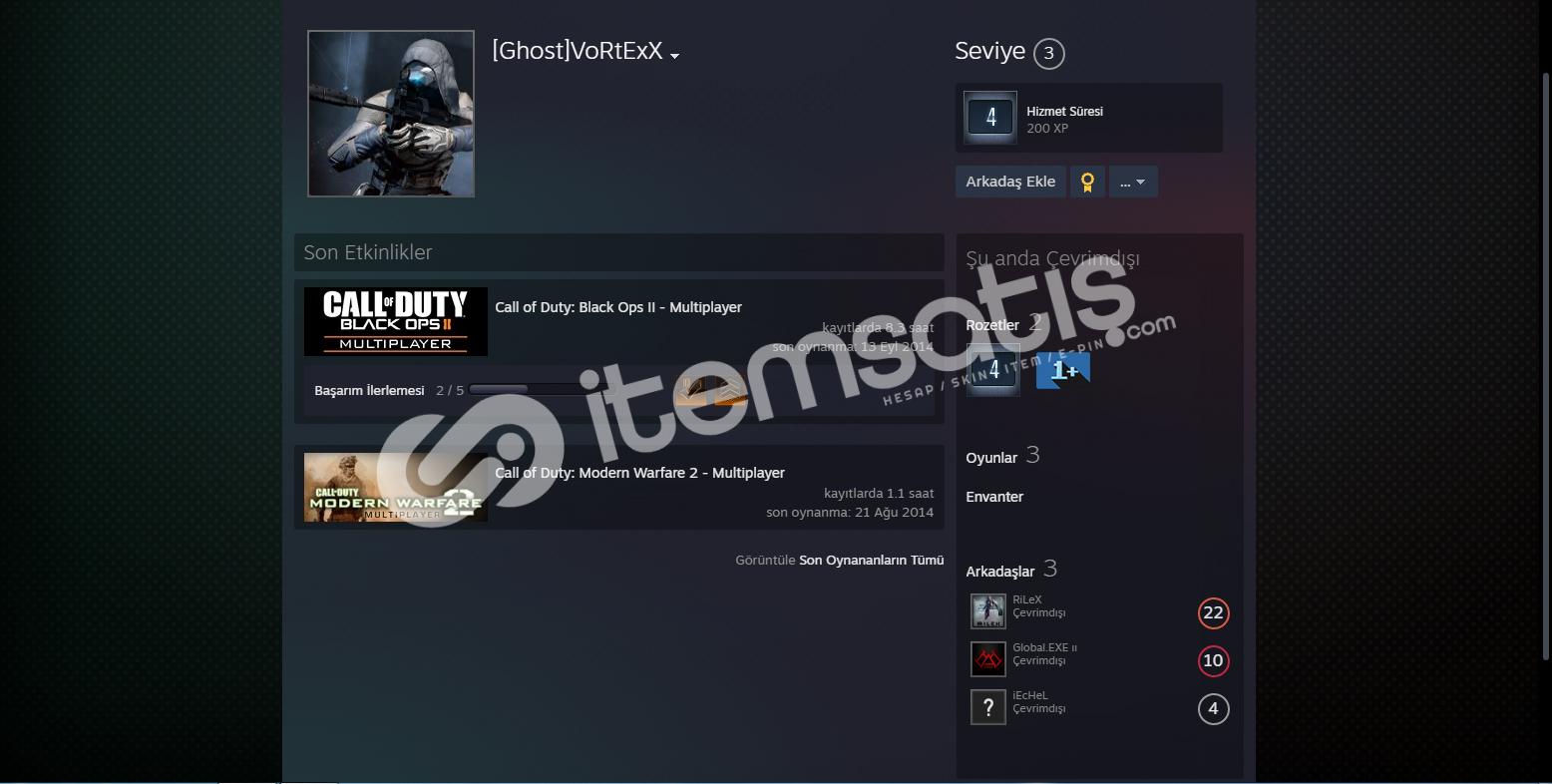 Steam Call of Duty: Modern Warfare 2 lı hesap.