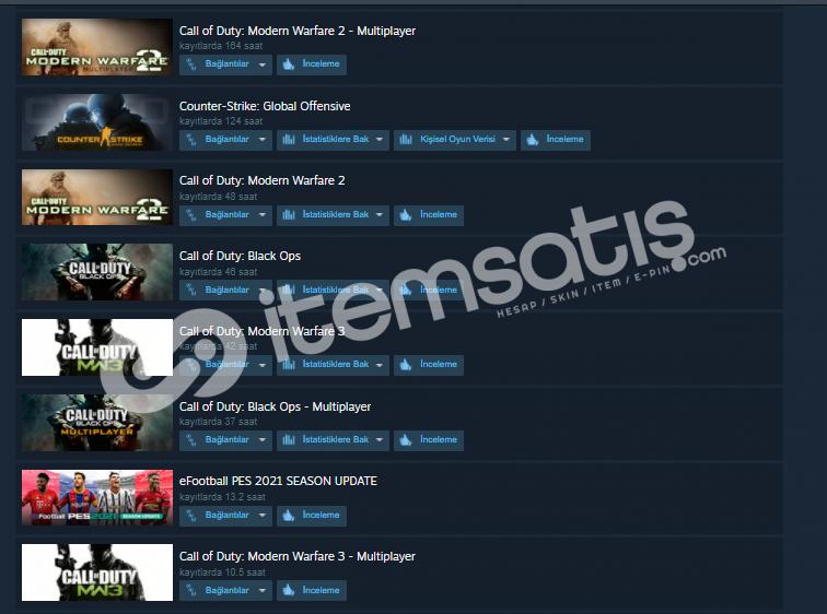 Call Of Duty Serisi Steam Hesap 35TL (FİYAT DÜŞTÜ)