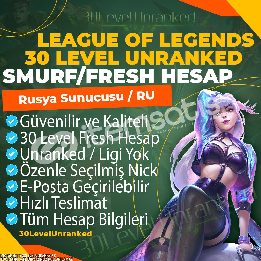Rusya 30 Level Unranked Hesap ✅ RU Server - Ban Yok!