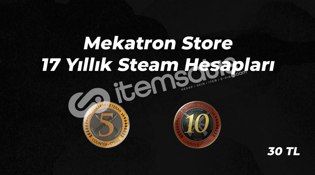 17-16 Yıllık / 2 Jetonlu Steam - CSGO Hesapları