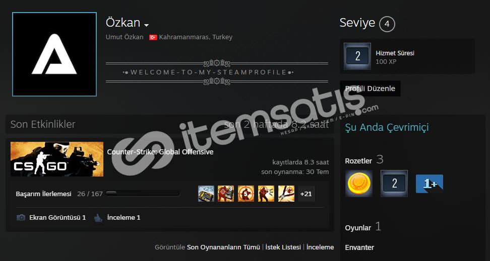 SADAKAT ROZETLİ + PRİME CSGO HESAP! 90TL
