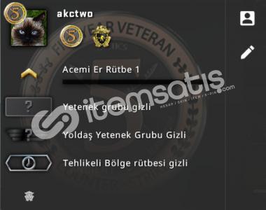 CS GO 2 ROZET + SEÇKİN HESAP + SKİN