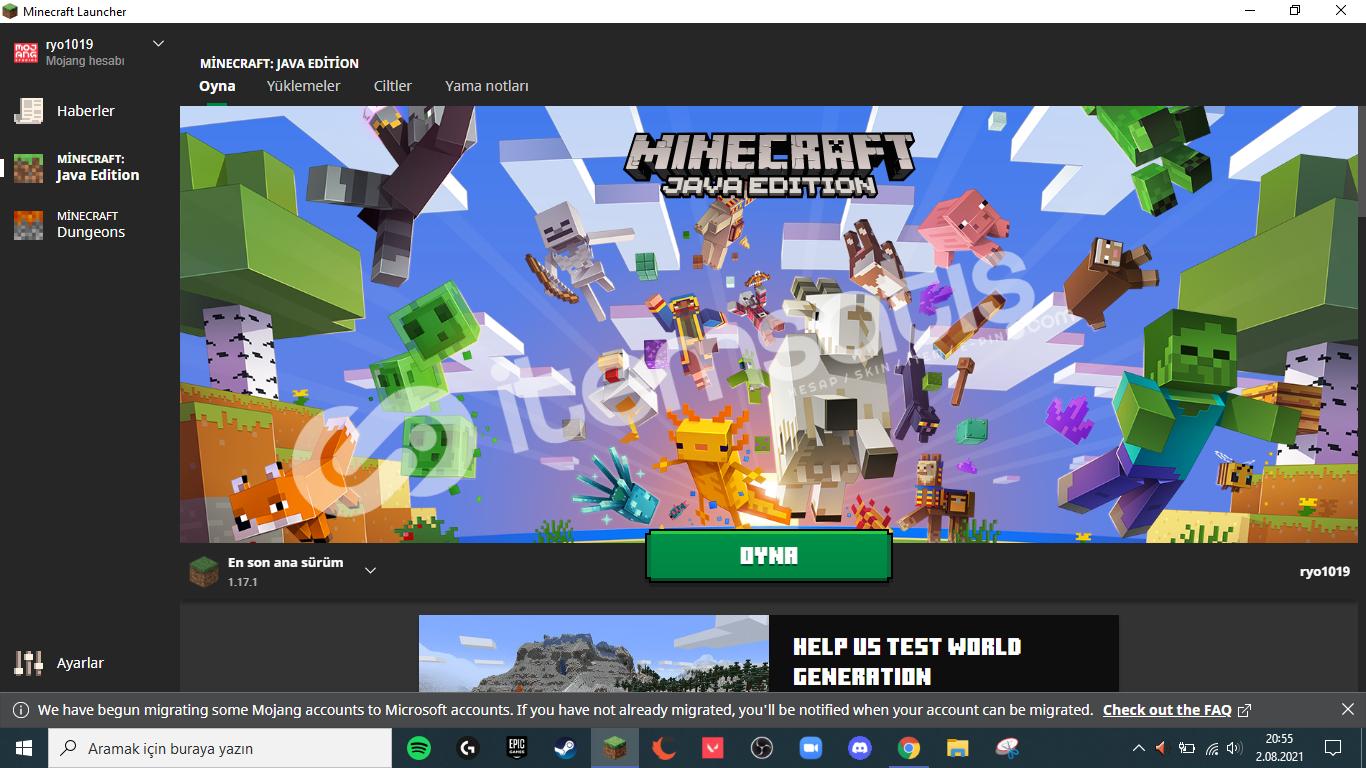 Minecraft Orginal Hesap