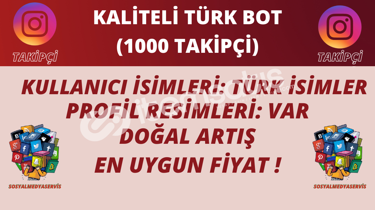 1000 ADET | TÜRK BOT TAKİPÇİ | KALİTELİ PROFİLLER | 8 TL