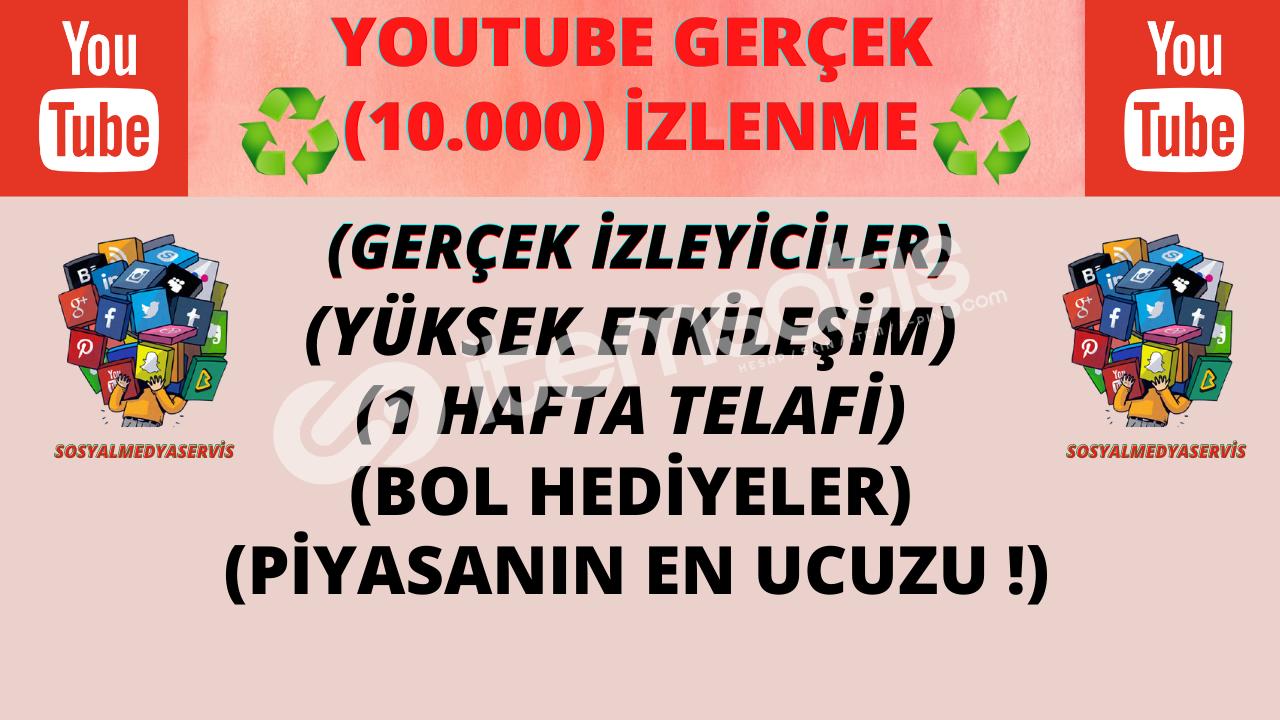 YOUTUBE 10.000 GERÇEK İZLENME | DOĞAL GÖNDERİM | 30 TL