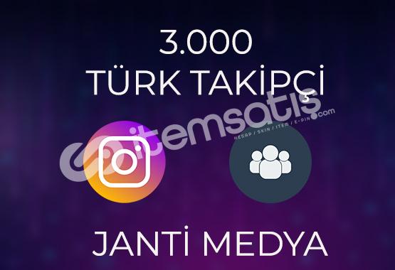 3.000 TAKİPÇİ %50 TÜRK - HIZLI TESLİMAT
