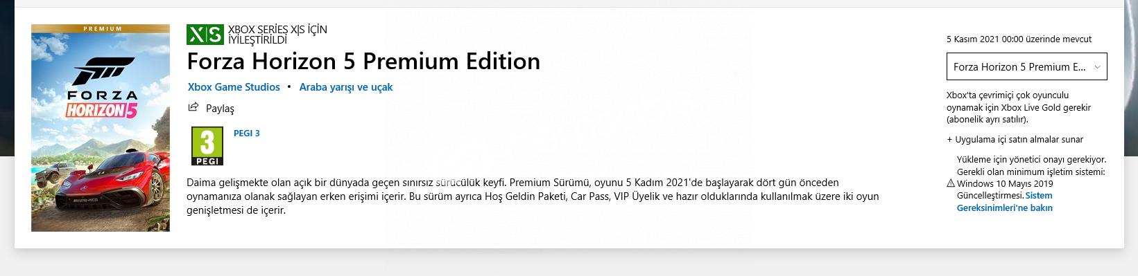 FORZA HORİZON 5 PREMIUM EDITION ÖN SİPARİŞ ASIL FİYAT 670TL